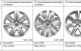 Размеры колес, шин и дисков Volkswagen Polo 2014